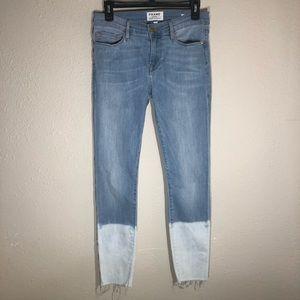 Frame denim skinny two tone raw hem jeans